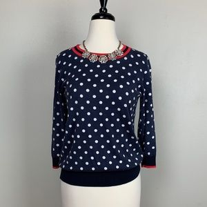 J. Crew Dot Sweater Top Size M.